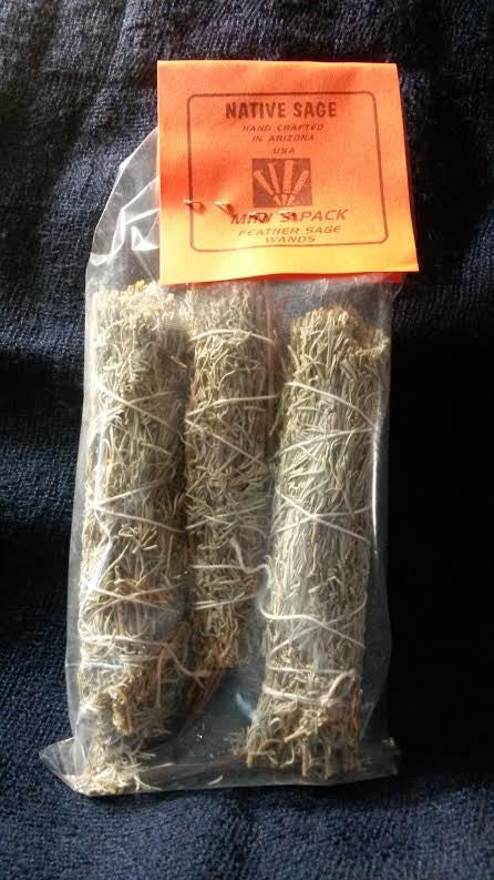 3 Pack Mini Feather Sage Smudge Stick