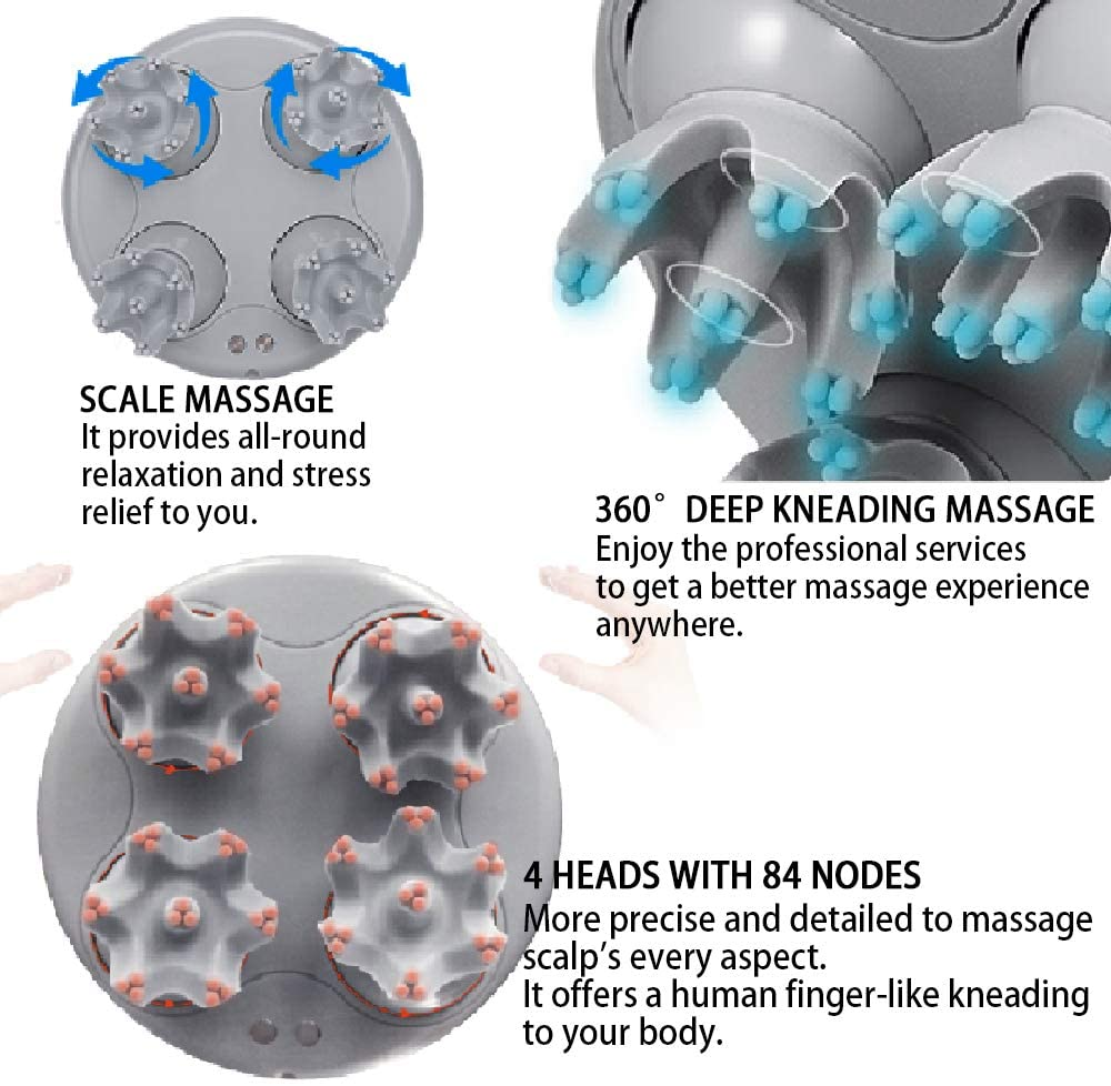 Electric Scalp Head Massager, Portable Handheld Hair Massager, Idea Stress Release Full Body Massage Rechargeable Waterproof with Deep Tissue Kneading for Stimulating Hair Growth, Muscles Back Shoulder Calf Pain, Deep Clean, and Stress Release