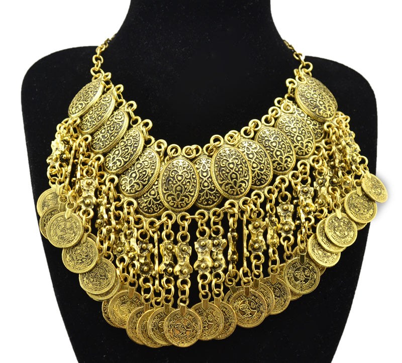 BOHEMIAN QUEEN Carved Flower Coin Tassels Statement Necklace