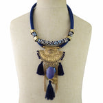 BLUE Bohemian Handmade Tribal Necklace