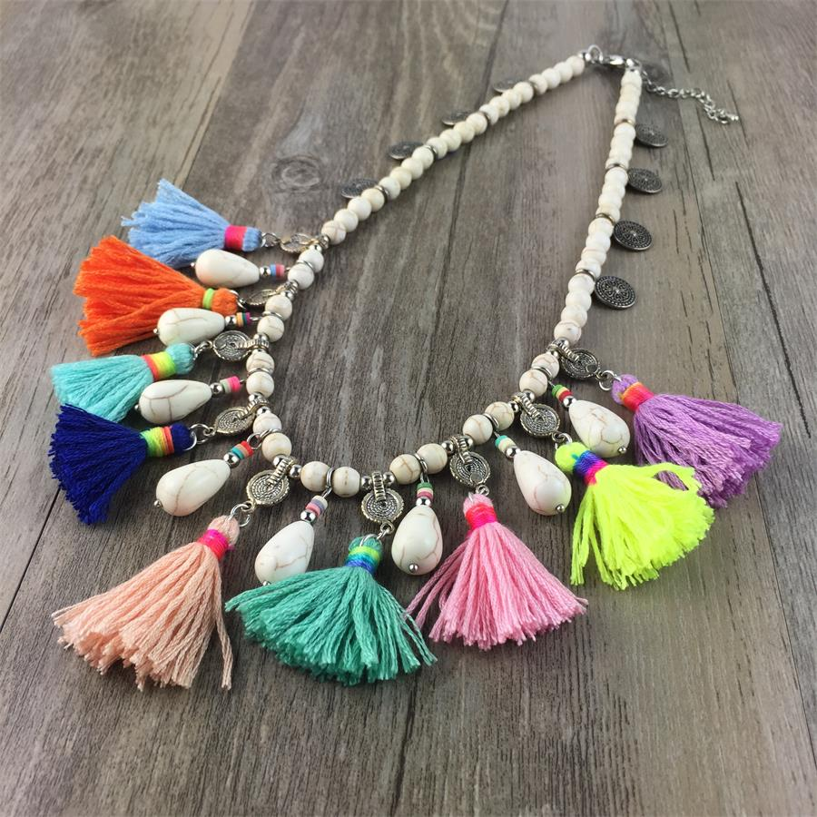 Chunky Statement Necklace boho Style Stone Maxi Necklace