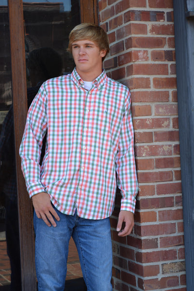 Mobile Bay-Grand Bay Button Down Frost/Coral