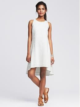 Banana Republic White Linen Trapeze Dress