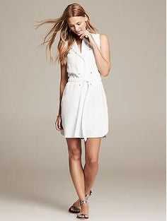 Banana Republic White Safari Dress