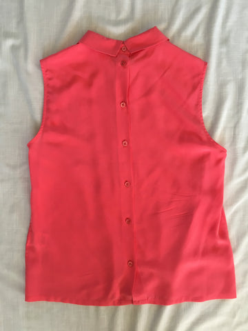 Equipment Sleeveless Collared Blouse - Coral Size Small