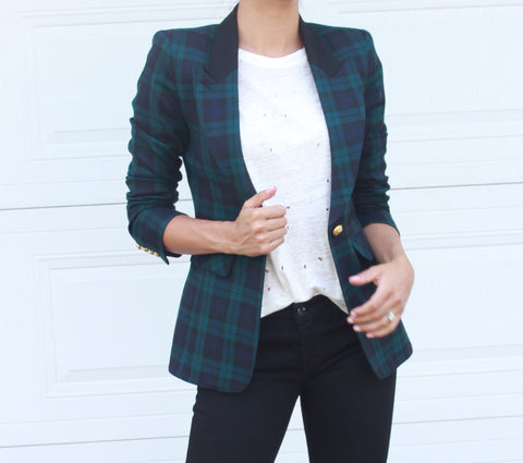 Smythe Plaid Blazer Size 4 - EXCELLENT CONDITION