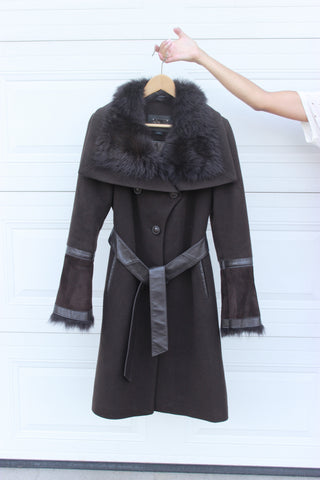 Mackage brown long wool coat with fur accents size M