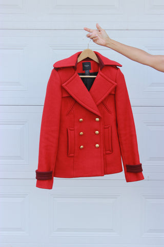 Smythe Red Wool Coat Size 6 - EXCELLENT CONDITION