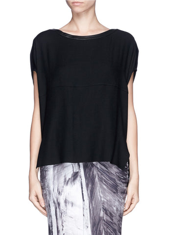 Helmut Lang Leather Trim Wool Blend Top - Size M