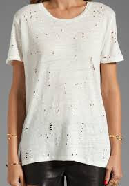 IRO White Torn Tee Shirt M