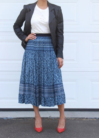 Rebecca Taylor Blue Printed Skirt size 4 NWT