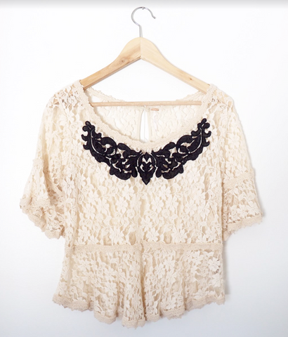 Free People lace blouse with grey detail - Size M
