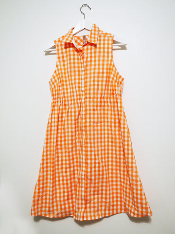 Thyme Maternity Orange Gingham Dress