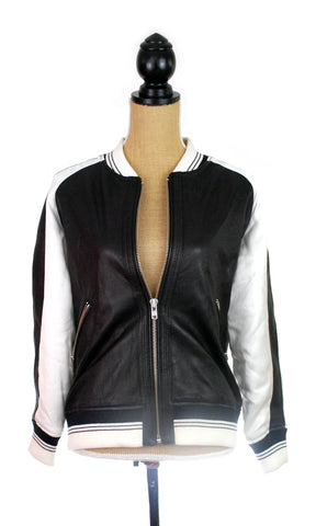 "IRO Paris ""Falia"" Leather Bomber Jacket - Size 38"