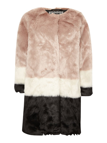 Maison Scotch Colorblock Faux Fur Jacket - Size 1/2