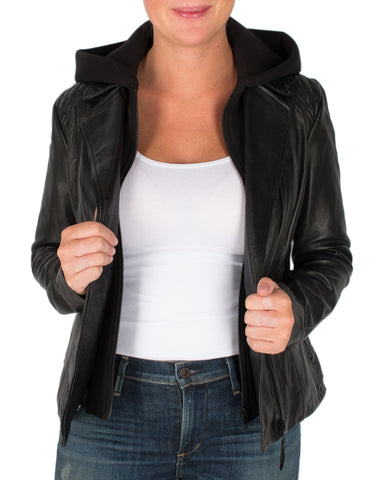 Soia & Kyo leather hooded jacket - Size M