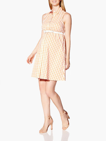 Thyme Sleeveless Gingham Printed Maternity Dress - Size XS