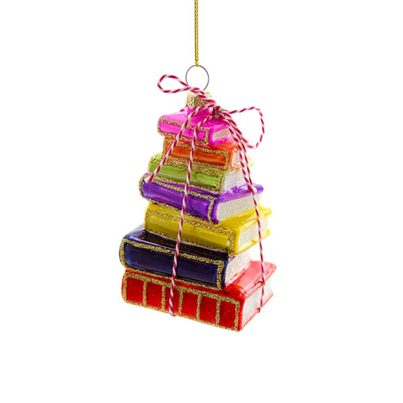 Bright Stacked Books Ornament