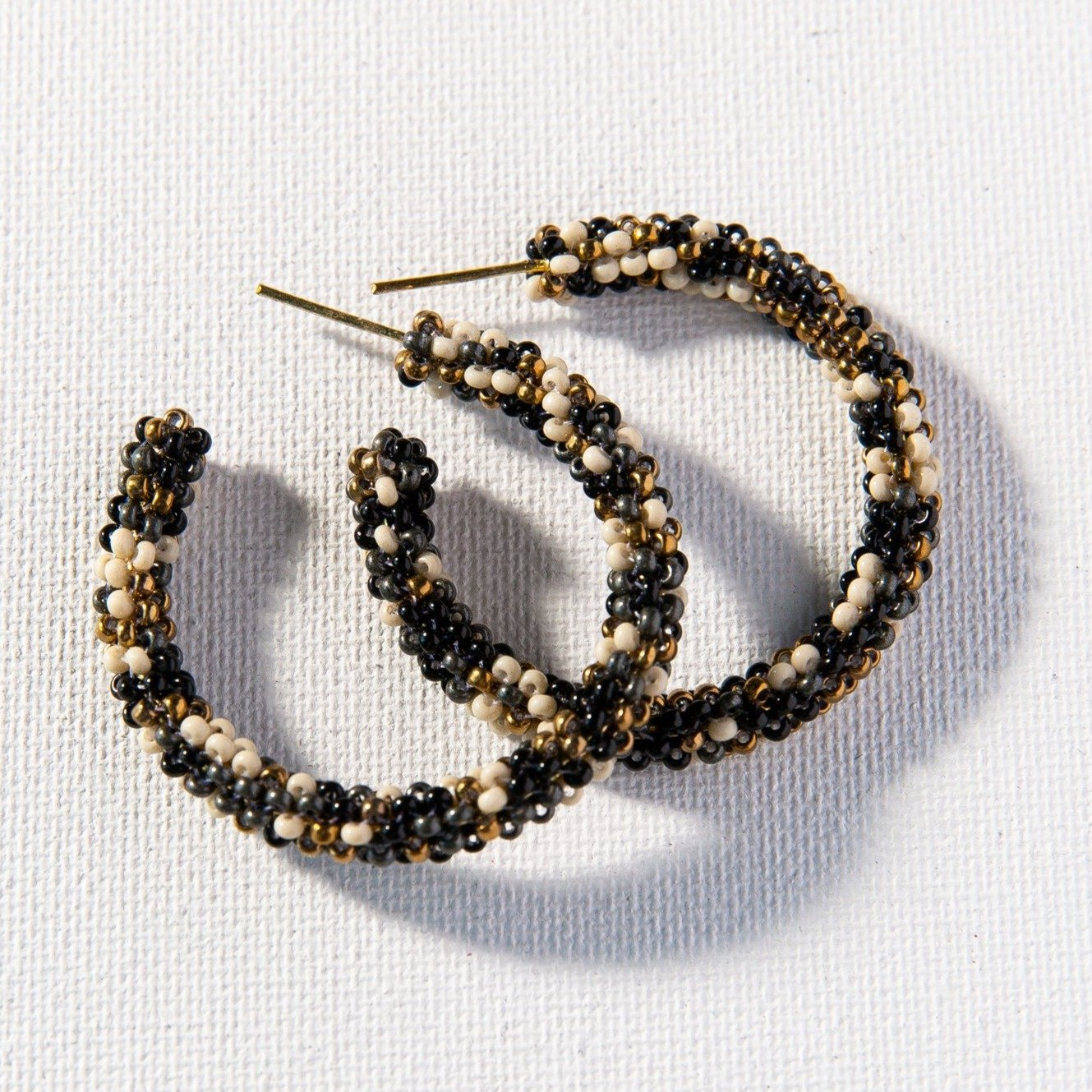 Small Hoop Earrings - Black Confetti
