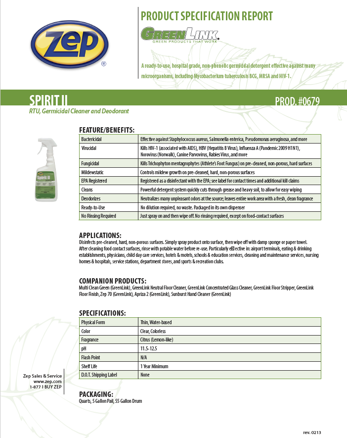 Zep Spirit II Disinfectant - 32 oz spray