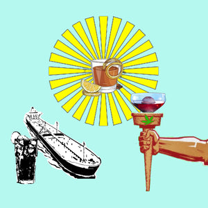 Graphics of three imaginary cocktails; one with a sunbeam shining around it with a citrus garnish, one with a large oil tanker and one in an Olympic torch goblet
