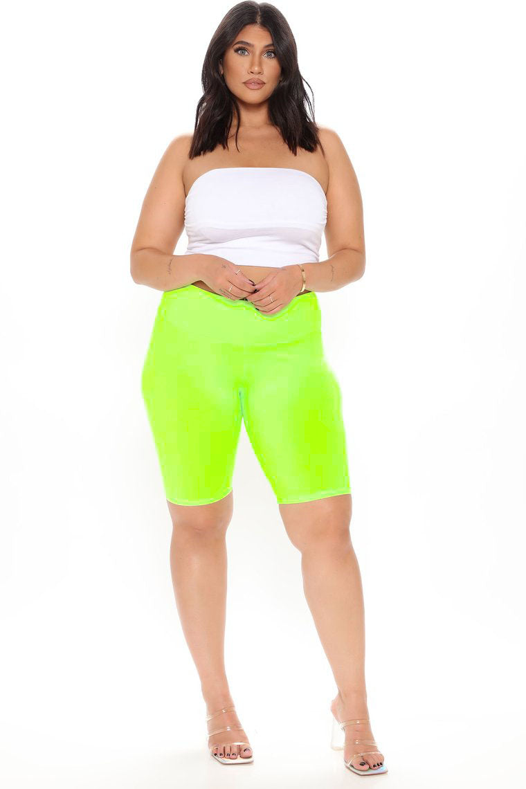 Lycra High Rise Lime Biker Shorts