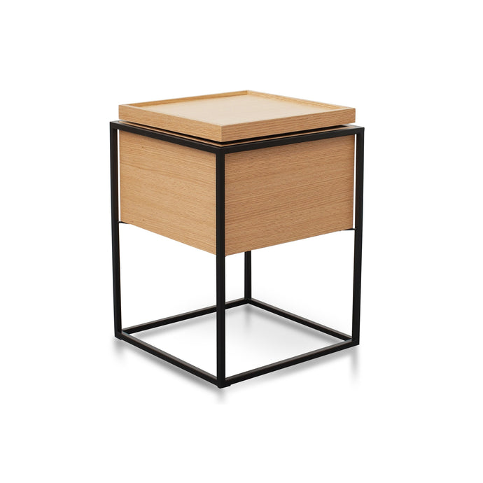 Cane Scandinavian Bedside Table | Walnut/Oak
