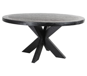 Darrel Round Wooden Dining Table 1.5m | Black