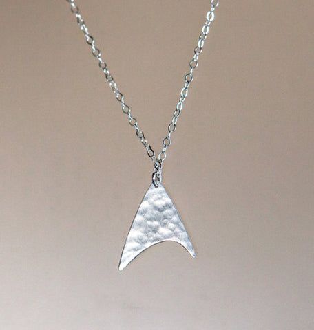 Star Trek Communicator Necklace: Hammered Sterling Silver