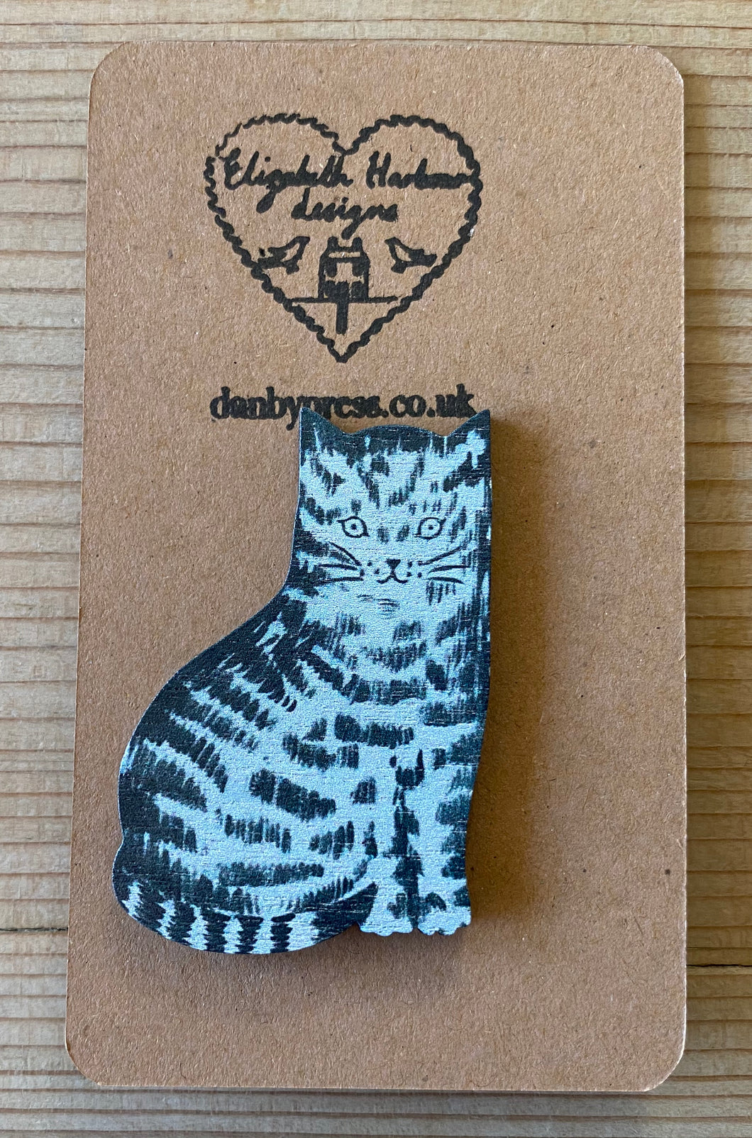 Wooden Cinder Cat Brooch