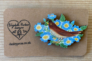 Wooden SongThrush in Flowers Brooch