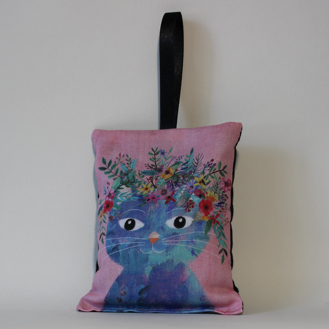 Blue Cat on Pink Lavender Bag