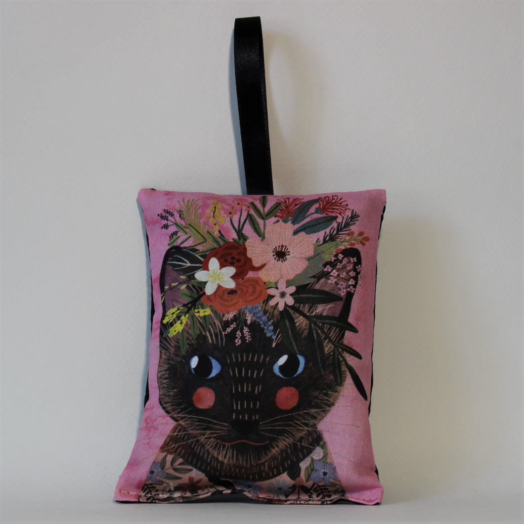 Dark Cat with Red Cheeks Lavender Bag
