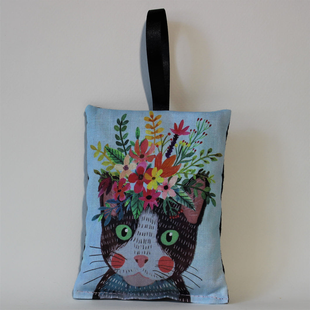 Cat on Blue Lavender Bag