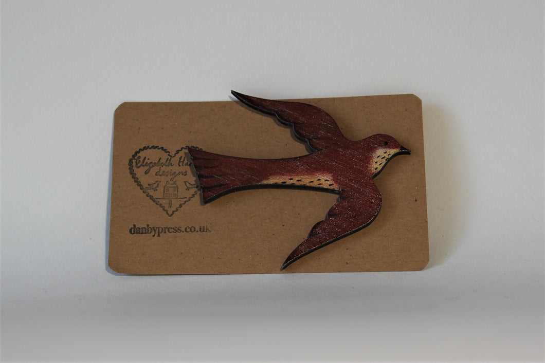 Wooden Song Thrush Brooch