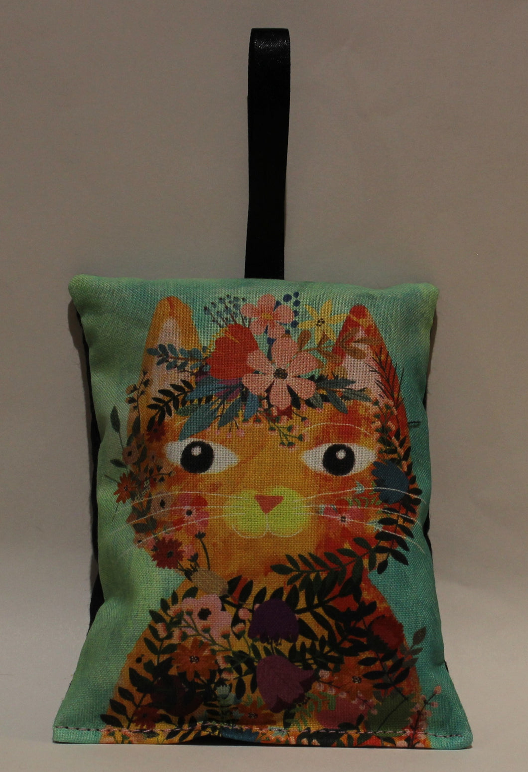 Orange Cat on Green Lavender Bag