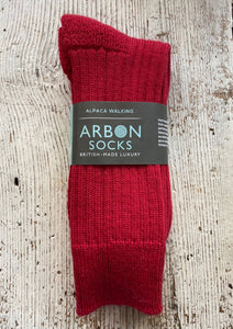 Alpaca Walking Socks - Red