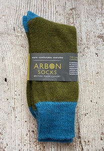 Cumbria Contrast Socks - Olive Green/Turquise