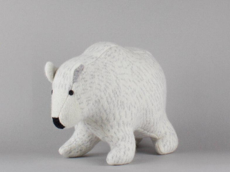 Polar Bear Lambswool Toy by Sally Nencini