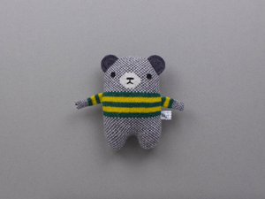 Mini Bear Lambswool Toy by Sally Nencini - green/yellow stripe