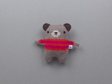 Load image into Gallery viewer, Mini Bear Lambswool Toy by Sally Nencini - pink/red stripe