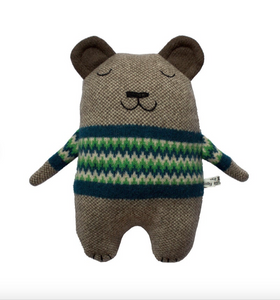 Fat Bear Lambswool Toy with Green Fairisle jumper by Sally Nencini