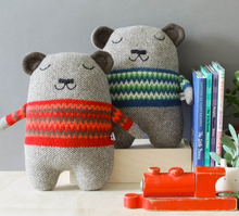 Load image into Gallery viewer, Fat Bear Lambswool Toy with Green Fairisle jumper by Sally Nencini