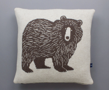 Load image into Gallery viewer, Big Brown Bear Lambswool Cushion by Sally Nencini