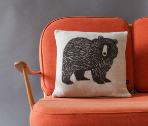 Big Brown Bear Lambswool Cushion by Sally Nencini