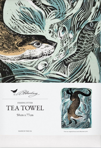 Fishing Otter Cotton Tea Towel by Angela Harding