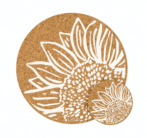 Cork Tablemat or Coaster - Sunflowers in White