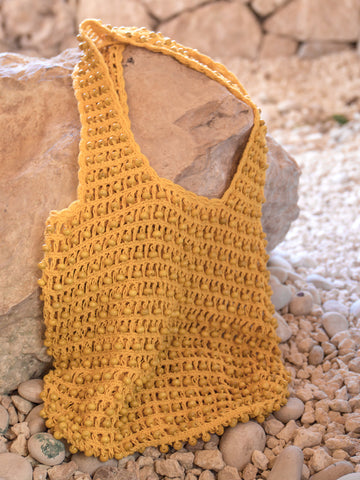 Along Came Molly Crochet Yellow Hobo Bag