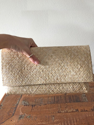 Bahasa Square Bamboo Clutch Natural