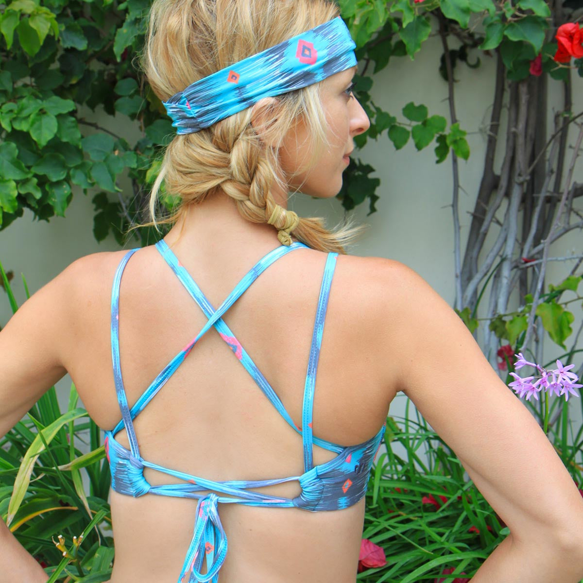 Bahasa Strappy Sports Bra Aqua Blue DayDreamer Print